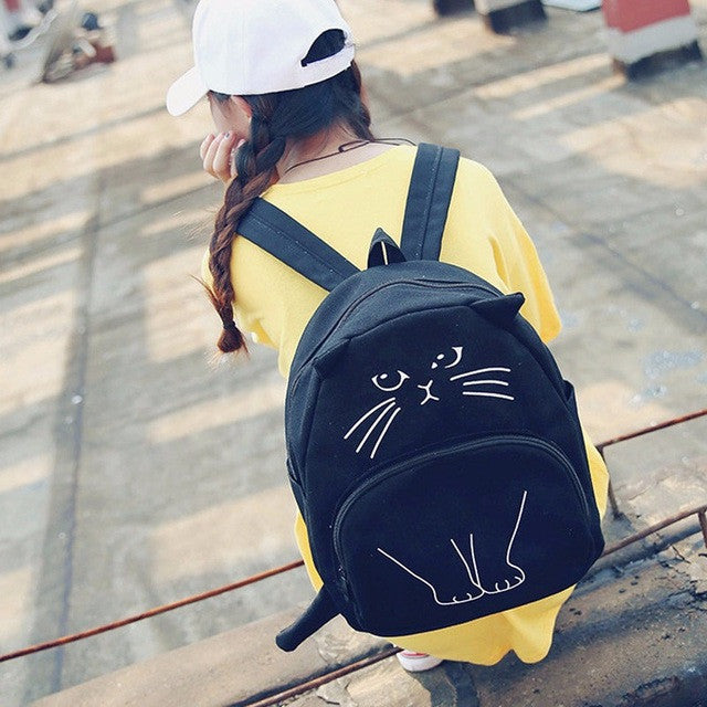 School Backpacks Cute Cat