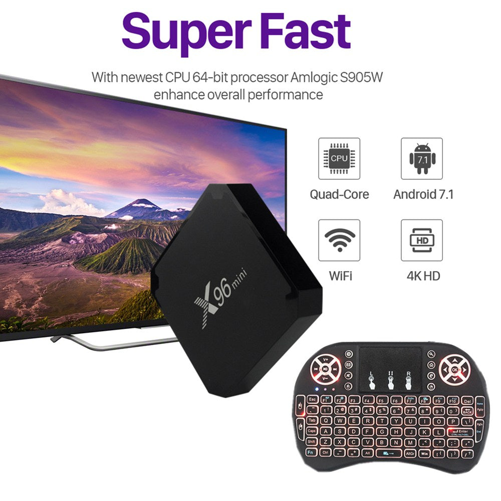 X96MINI Android 7 1 2 Smart TV BOX +i8 2 4GHz Wireless Keyboard Air Mouse