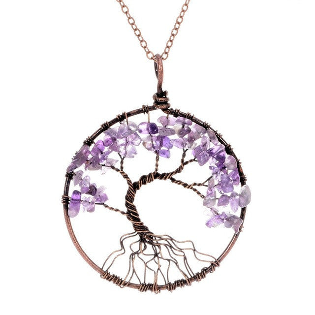 Amethyst Chakra Tree of Life Necklace