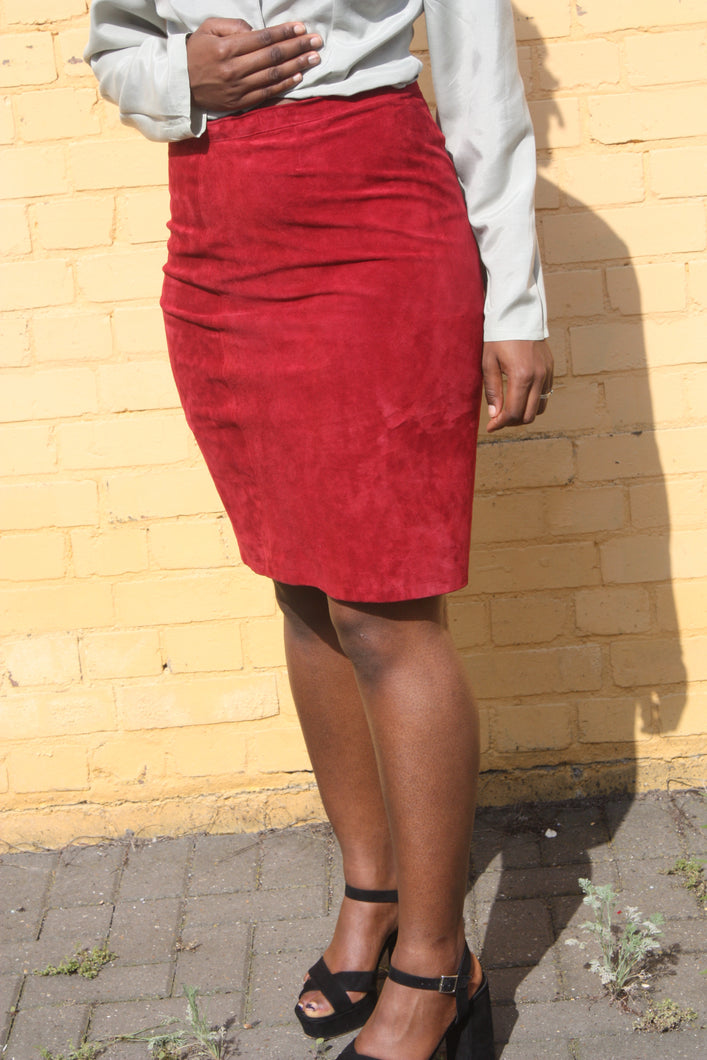 Burgundy Faux Suede Pencil Skirt