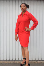 Vintage long sleeve shift dress with collar