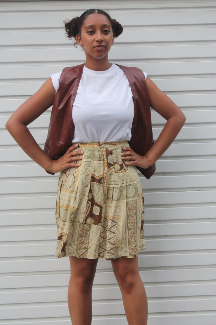 90s High Waisted Print Skirt