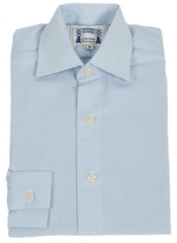 Adults Blue Oxford Cotton showing shirt