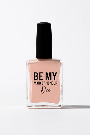 The best personalised bridesmaid gifts. Pastel peach nail polish personalised with 'Be My Maid of Honour Dee'