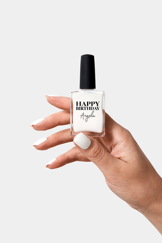 Personalised happy birthday Nail Polish in white