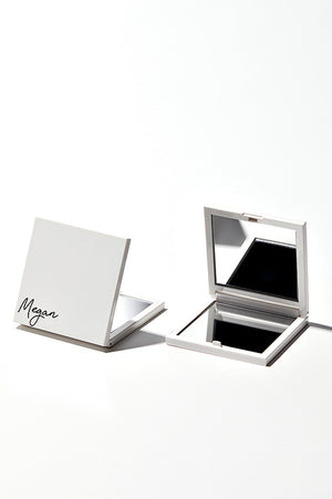 Personalised Beysis white compact mirrors on a white background