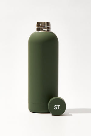 Beysis personalised monogrammed water bottle in Olive Green