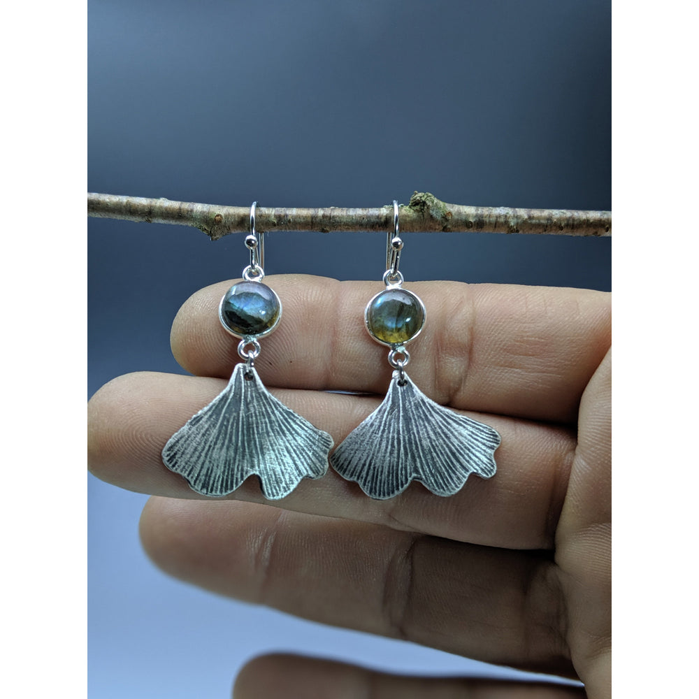 Ginkgo Leaf  Earrings with amethyst or labradorite-made to order