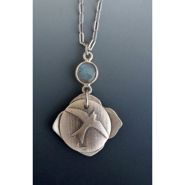 Mini Locket-Fly Free-with bezel set faceted labradorite