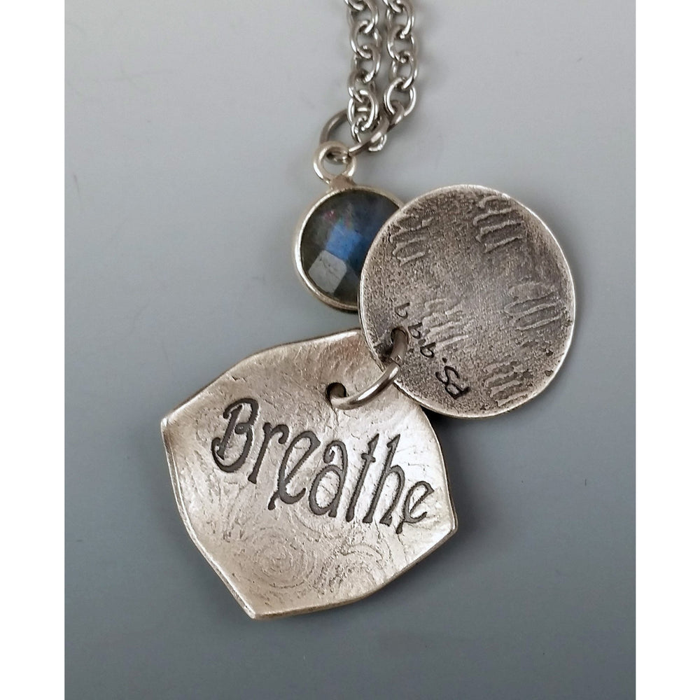 Mini Locket-Grand Oak--with faceted labradorite gemstone