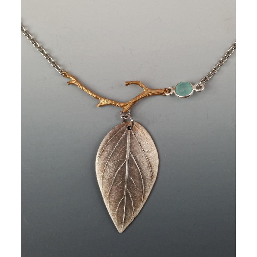 Basil Leaf Pendant- shown with chalcedony gemstone