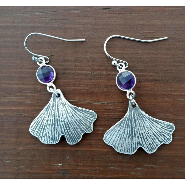 Ginkgo Earrings with amethyst