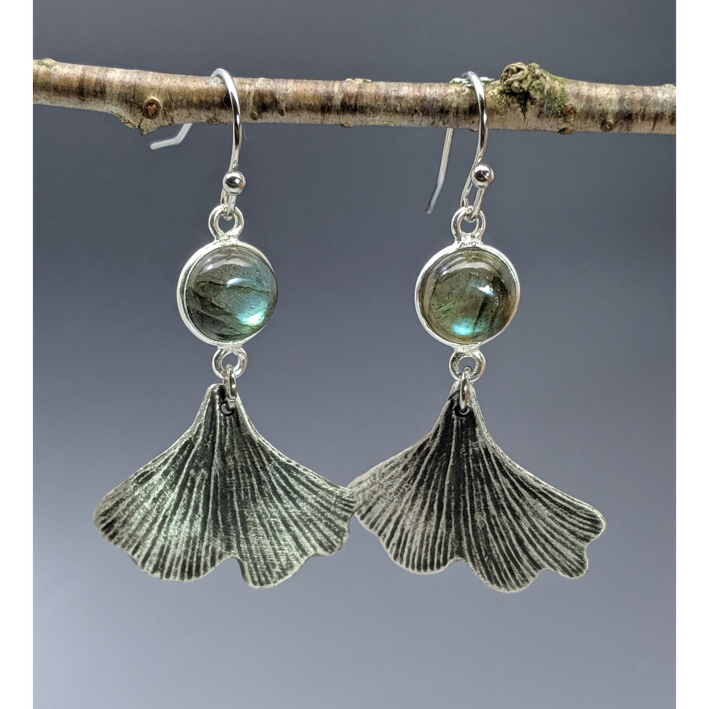 Ginkgo Leaf  Earrings with amethyst or labradorite