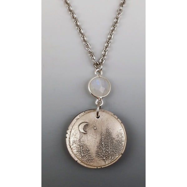 Large Locket-Evergreen Moon and Venus-with Rainbow moonstone