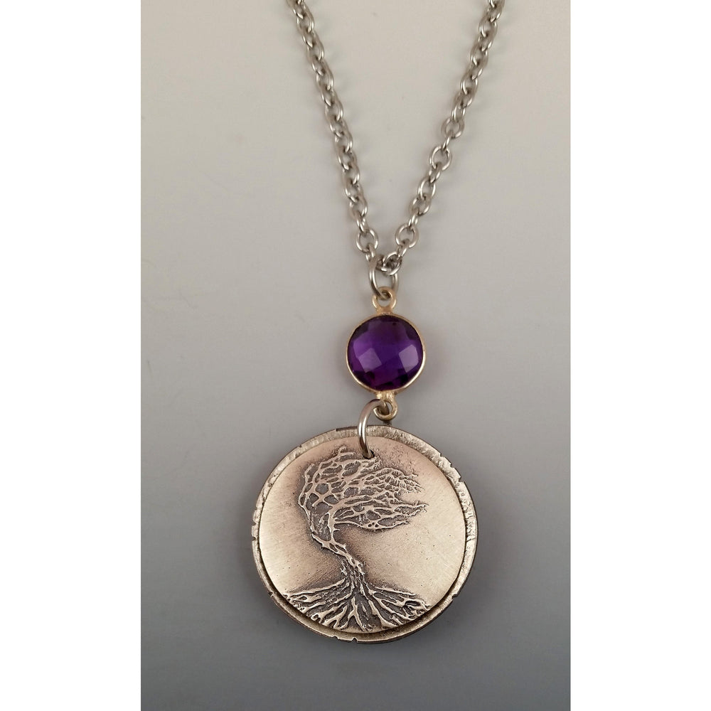 Large Locket---Still Standing-Amethyst accent stone