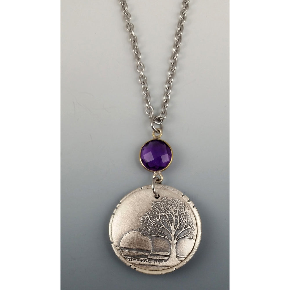 NEW----$45.00---Sunset- with amethyst gemstone.