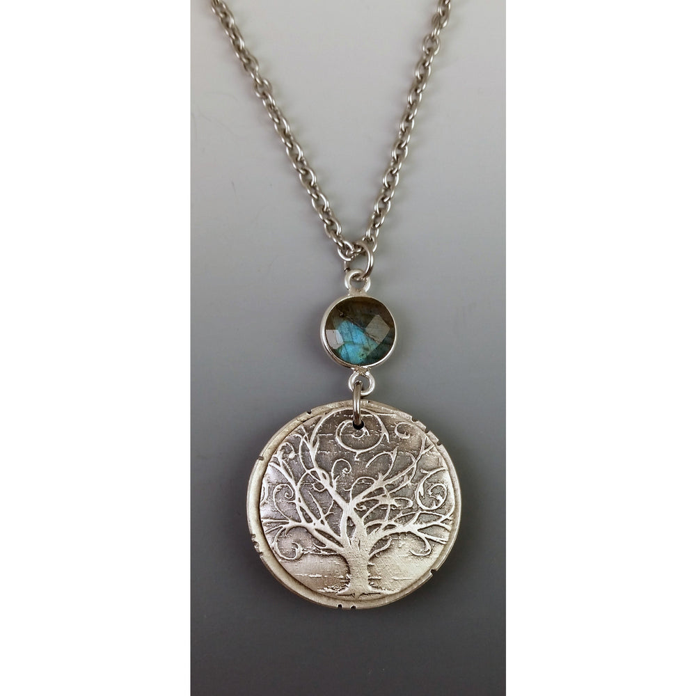 Large Locket---Swirly Tree with labradorite gemstone