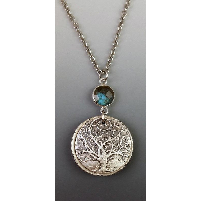 $45.00---NEW-- Swirly Tree medallion with labradorite gemstone