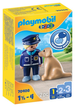 PLAYMOBIL 1.2.3 - Police Officer with Dog - 70408
