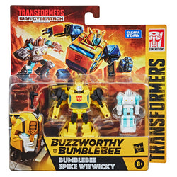 Transformers Buzzworthy Bumblebee Core 2 Pack Bumblebee and Spike Witwicky Exo Suit