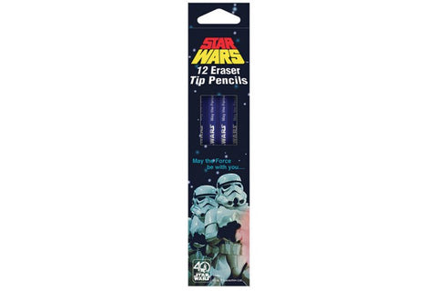 STAR WARS HELIX 40TH ANNIVERSARY HB PENCILS 12 PACK & RETRO STORMTROOPER 30CM RULER