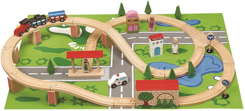 Wooden 50 Piece Train Set With Playmat