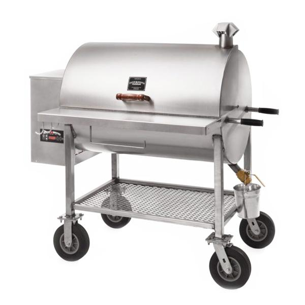 "PITTS AND SPITTS STAINLESS STEEL MAVERICK 1250 PELLET GRILL W/ 8"" CASTERS"