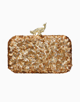 Rusaru Sequin Me Gold Clutch