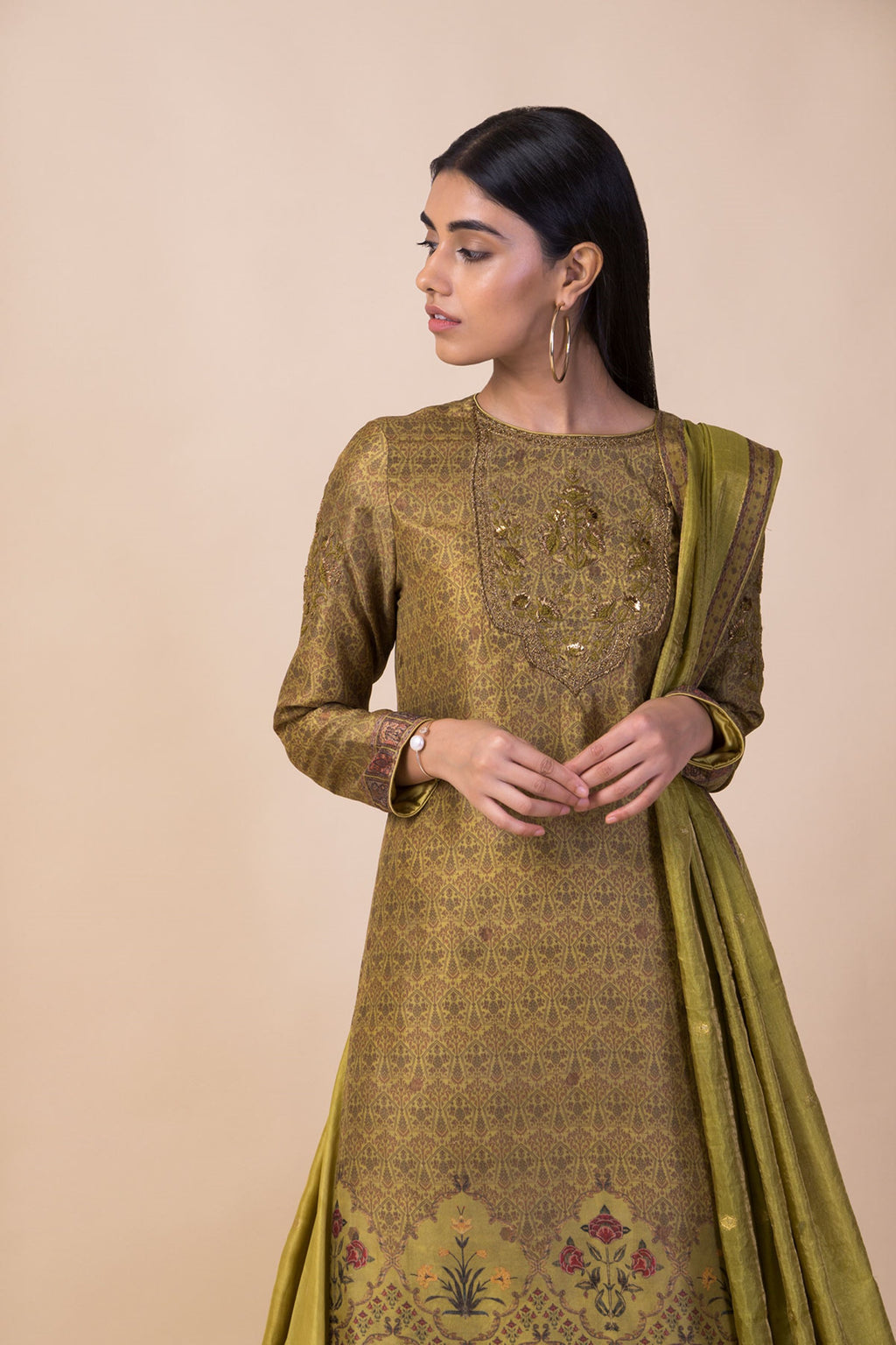 Ekaya - Lime Green Kurta Set With Palazzo - INDIASPOPUP.COM