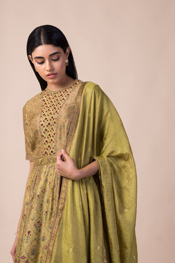 Ekaya - Lime Green Silk Anarkali Set With Dupatta - INDIASPOPUP.COM