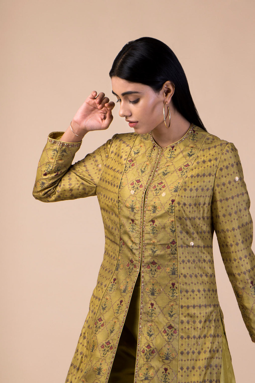 Ekaya - Lime Green Silk Kurta With Pants - INDIASPOPUP.COM