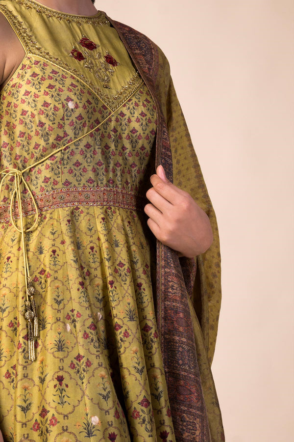 Ekaya - Lime Green Silk Anarkali Set - INDIASPOPUP.COM