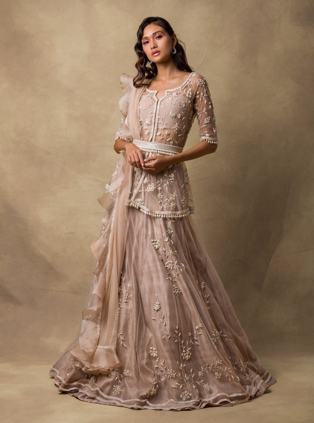 Champagne Gold Embroidered Lehenga Set