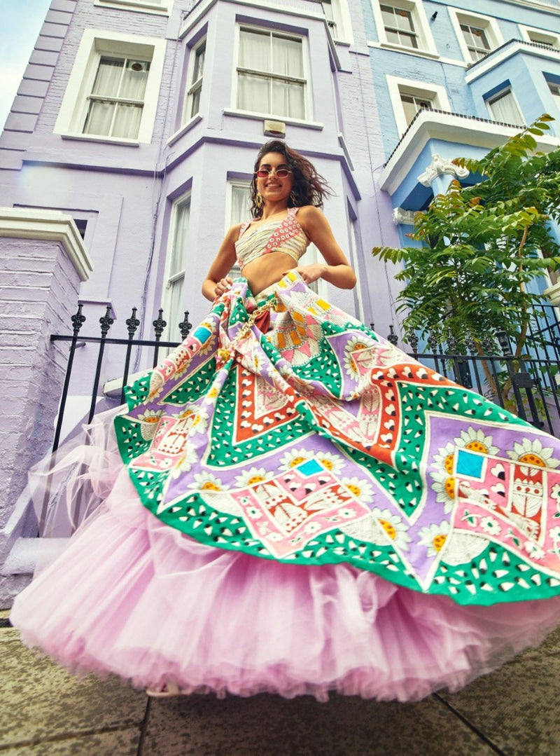 Papa Don'T Preach By Shubhika - Multicolor Hand Painted Lehenga Set - INDIASPOPUP.COM