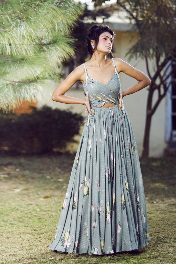 Mahima Mahajan - Olive Green Ruchhed Side Cut-Out Anarkali Set - INDIASPOPUP.COM