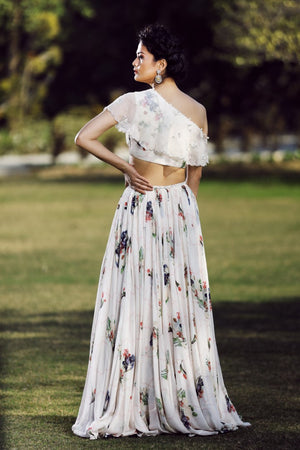 MAHIMA MAHAJAN IVORY ONE OFF-SHOULDER BLOUSE LEHENGA SET