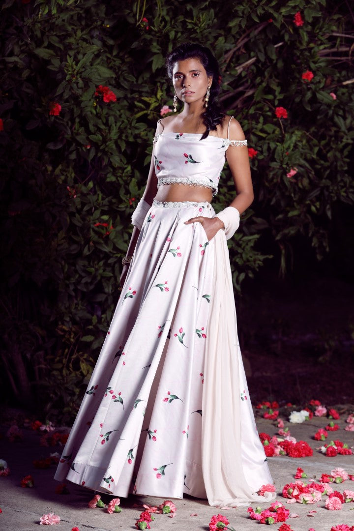 MAHIMA MAHAJAN IVORY OFF SHOULDER BLOUSE LEHENGA SET