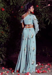 Mahima Mahajan - Aquamarine One Off-Shoulder Palazzo Set - INDIASPOPUP.COM