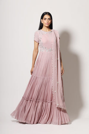 MAHIMA MAHAJAN LILAC TIERED ANARKALI SET