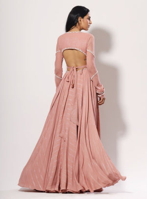 Mahima Mahajan - Blush Pink Cut-Out Lehenga Set - INDIASPOPUP.COM