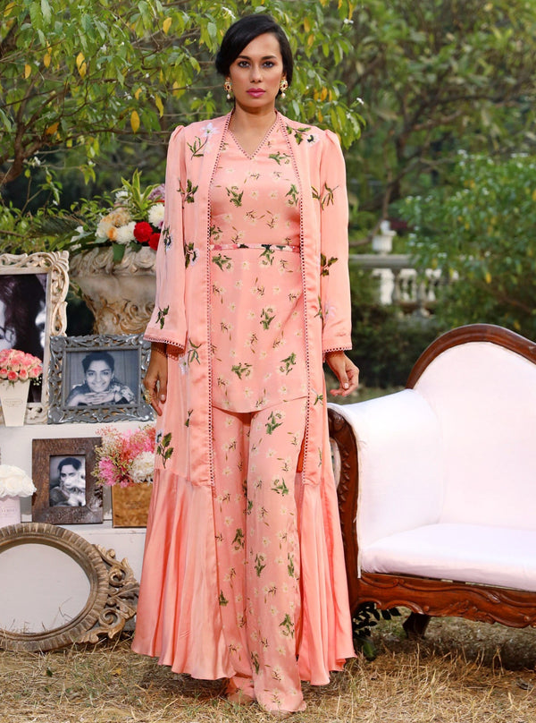 Mahima Mahajan-Light Blush Printed Jacket Set-INDIASPOPUP.COM