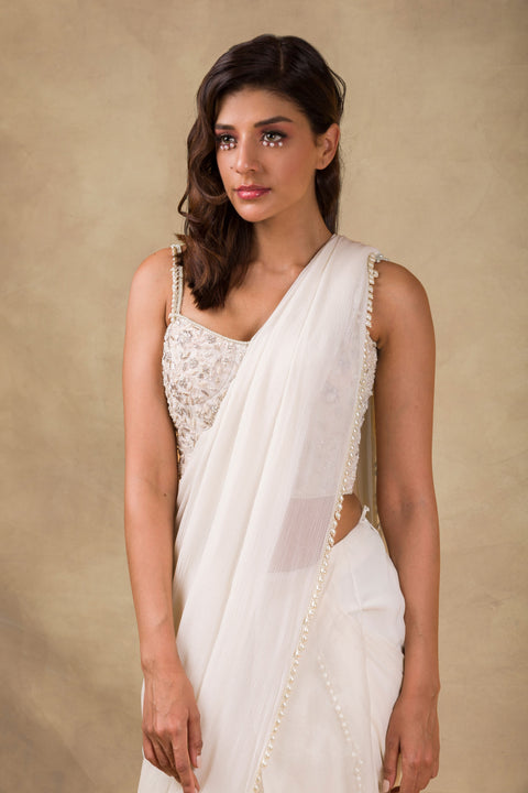 Ridhi Mehra - Ivory & Red Embroidered Drape Saree - INDIASPOPUP.COM