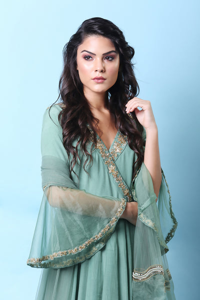 Mint Green Angarkha Anarkali Set