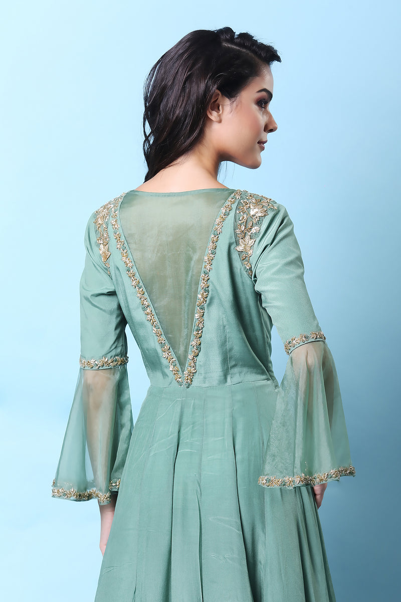 KHALOM MINT GREEN ANGARKHA ANARKALI SET
