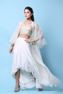KHALOM WHITE EMBELLISHED DRAPE CAPE SET