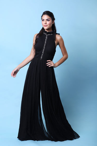 KHALOM BLACK FLARED JUMPSUIT