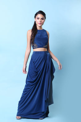 KHALOM TURKISH BLUE EMBELLISHED DRAPE SKIRT SET