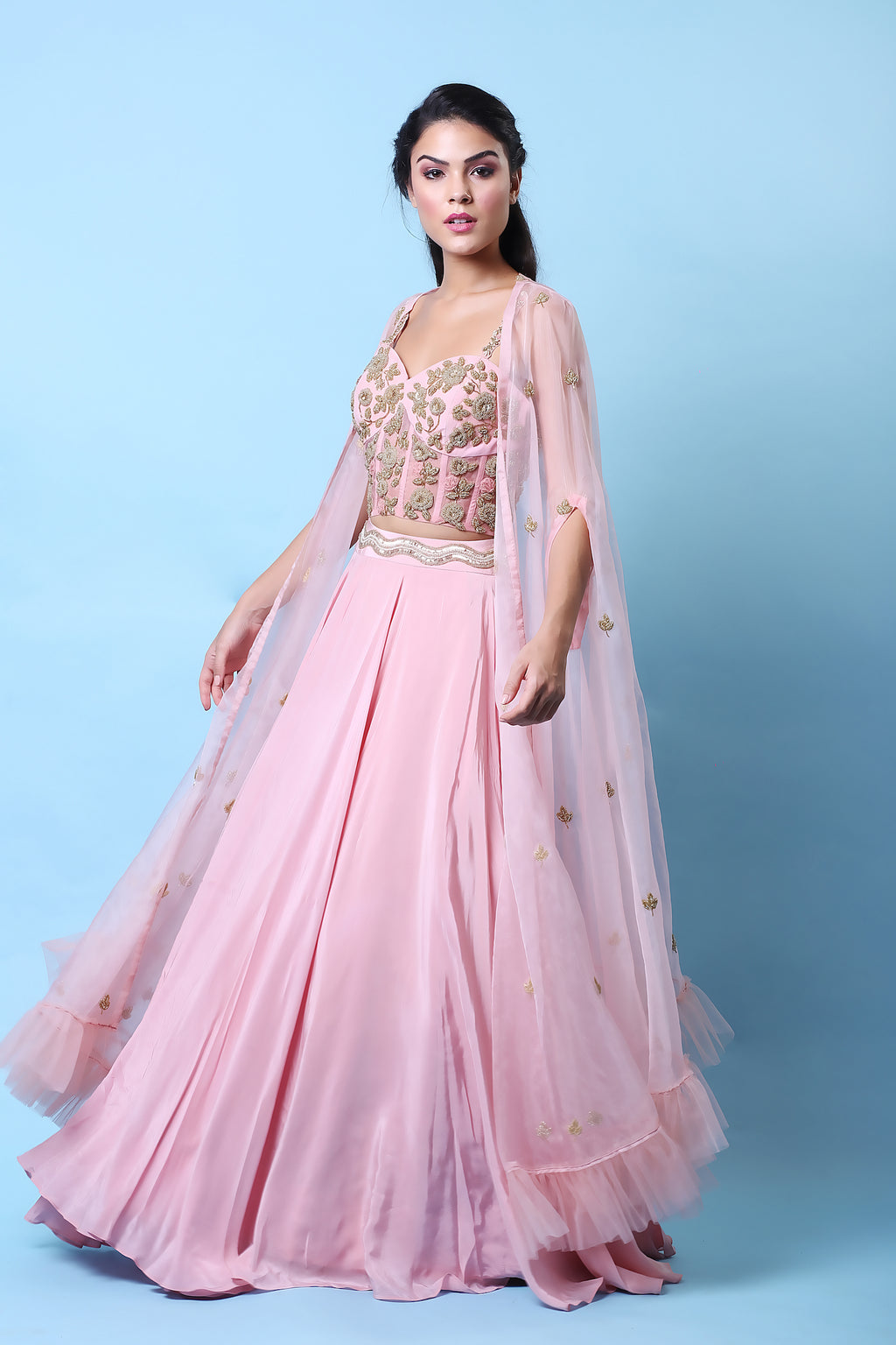 KHALOM ROSE CORSET CAPE LEHENGA SET
