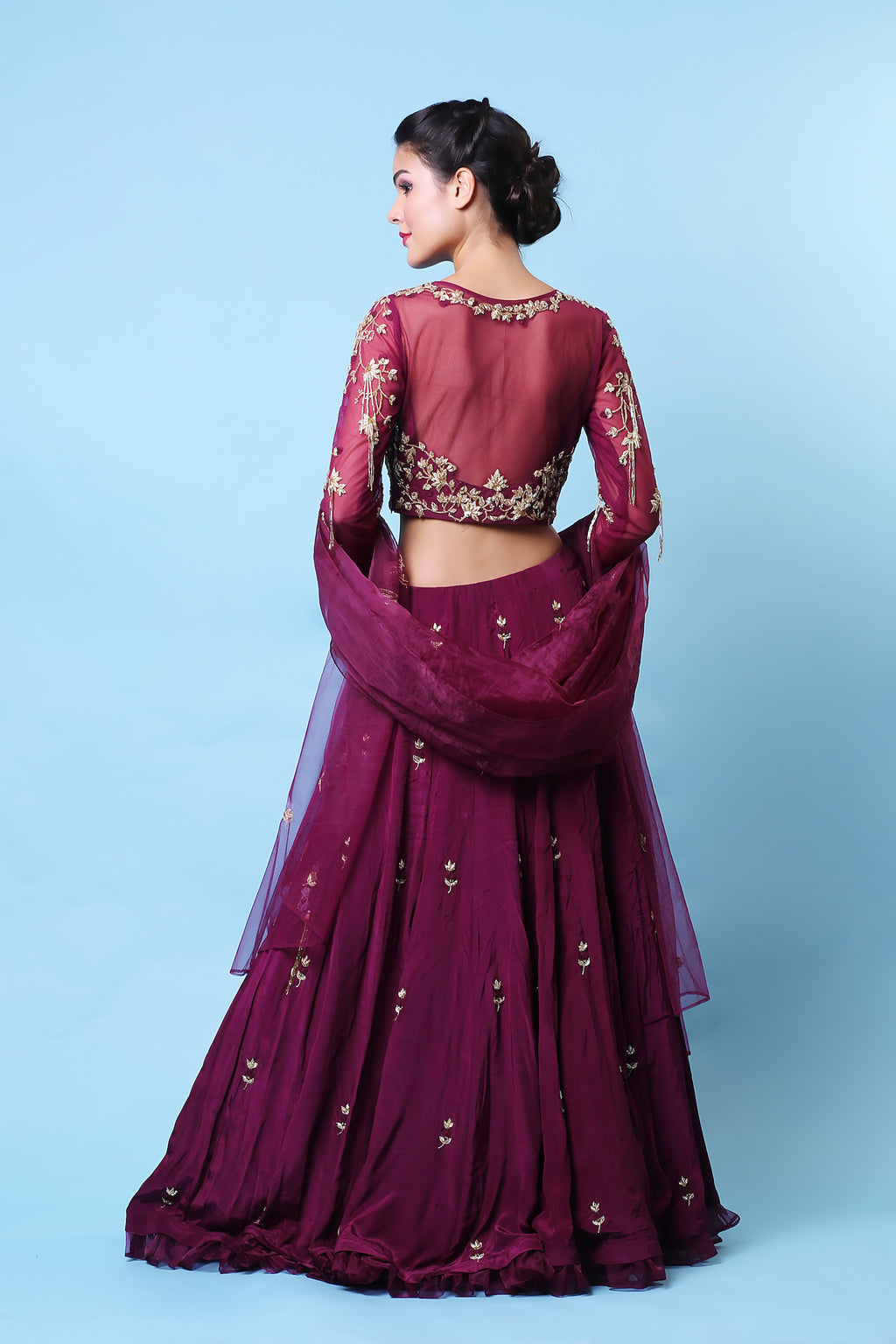 KHALOM WINE EMBROIDERED LEHENGA SET