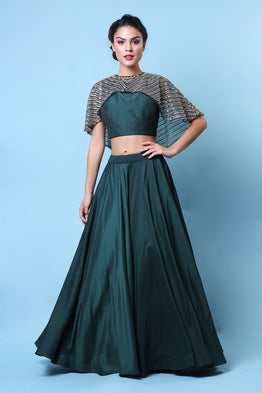 Emerald Embroidered Cape Skirt Set